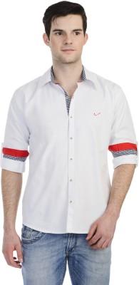 Hekar Men's Solid Casual White Shirt