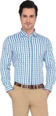 Devaa Men's Checkered Casual Green, Blue Shirt