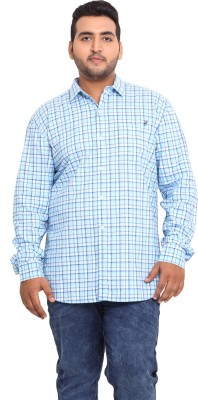 John Pride Men's Checkered Casual Blue Shirt