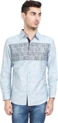 Riot Jeans Men's Printed Casual Grey Shirt