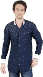 Zrestha Men's Printed Casual Blue Shirt
