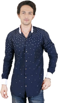 Zrestha Men's Printed Casual Blue Shirt