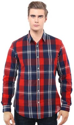 I CUBE CLUB Men's Checkered Casual Red, White Shirt