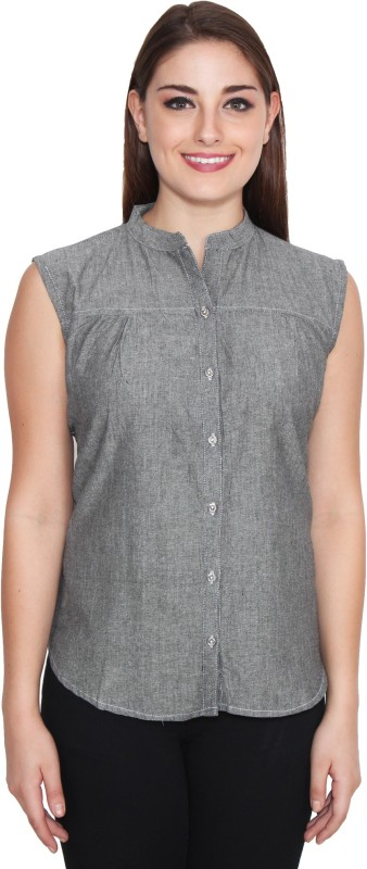 NumBrave Women's Solid Casual Grey Shirt