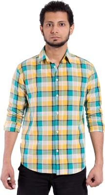 Chaman Handicrafts Men's Checkered Casual Yellow Shirt