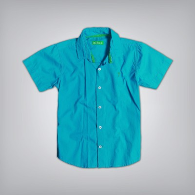Palm Tree Boy's Solid Casual Blue Shirt