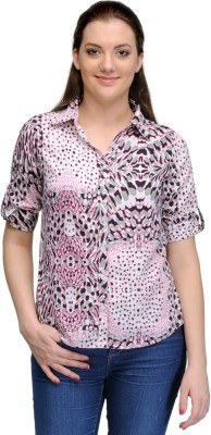 India Inc Women's Printed Casual Pink Shirt