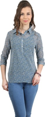 Amadeo Women's Floral Print Casual Green Shirt