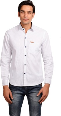 GARGI FASHIONS Men's Polka Print Casual White, Blue Shirt