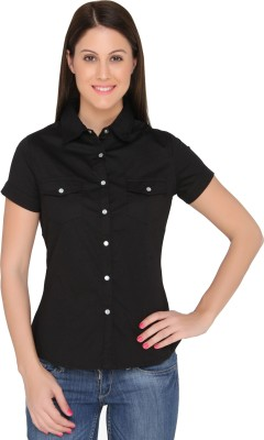 The Apparel Quotient Women's Embellished Casual Black Shirt