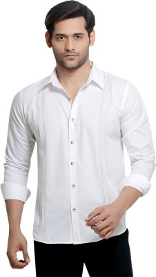 London Bee Men's Solid Casual White Shirt
