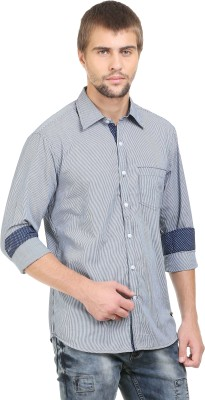BlackRooster Men's Striped Casual Grey Shirt