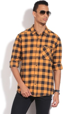 Quiksilver Men's Checkered Casual Yellow Shirt