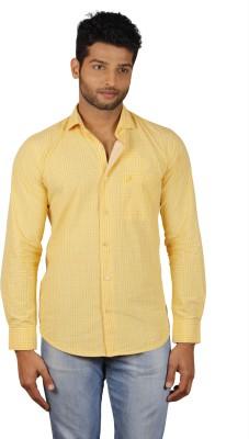 V Seven Men's Checkered Casual Yellow Shirt