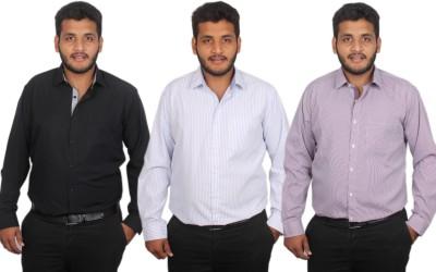 Maharaja Men's Checkered, Solid, Striped Formal Black, Blue, Purple Shirt
