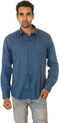 West Vogue Men's Solid Casual Blue Shirt