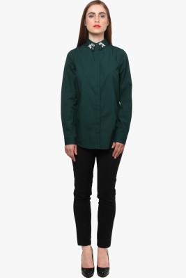 XnY Women's Solid Casual Green Shirt