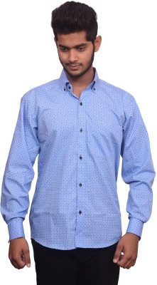 Signore Men's Self Design Formal Blue Shirt