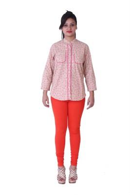 Amour Fashion Women's Printed Casual Brown Shirt