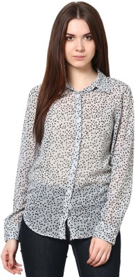 Trend18 Women's Printed Casual Grey, Black Shirt