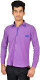 Kabeer Men's Checkered Casual Purple Shi...