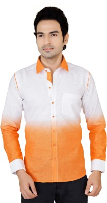 X-Secret Men's Self Design Casual Orange Shirt