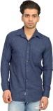 Libisto Men's Solid Casual Blue Shirt