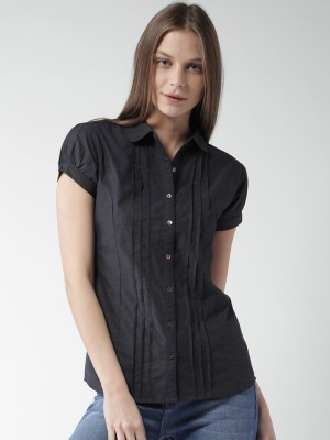 Mast & Harbour Women's Solid Casual Black Shirt