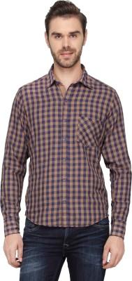 Cross Creek Men's Checkered Casual Beige Shirt