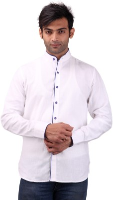 Clubstone Men's Solid Casual White Shirt