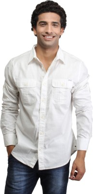 CAT Men's Solid Casual Reversible White Shirt