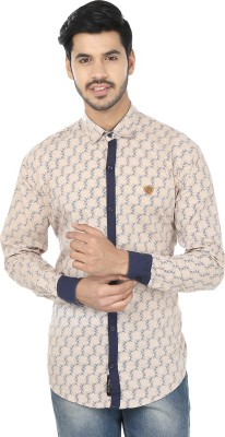 Perky Look Men's Printed Casual Beige, Blue Shirt