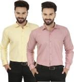 Jainish Men's Solid Formal Yellow, Red S...