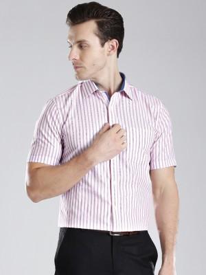 Invictus Men's Striped Formal White, Purple Shirt