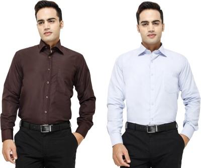Yuva Men's Solid Formal Brown, Light Blue Shirt