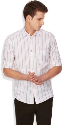 Blue Fire Men's Striped Casual Pink Shirt