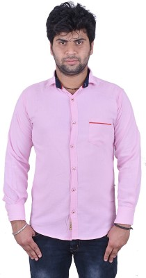 Royal Crown Men's Solid Casual Pink Shirt