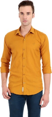 Camrick Men,s Solid Casual Orange Shirt
