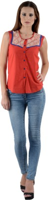 Sharleez Women's Solid Casual Red Shirt
