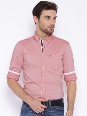 Harvard Men's Self Design Casual Red Shirt