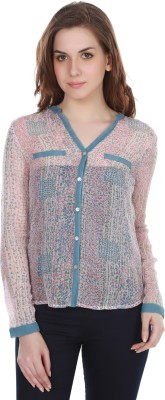 Colors Couture Women's Printed Casual White, Pink Shirt
