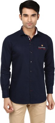 Flakes Fashion Men's Solid Casual Dark Blue Shirt