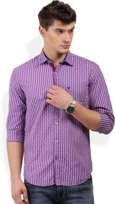 PAN VALLEY Men's Self Design Casual Purple Shirt