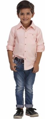 Trmpi Boy's Solid Casual Orange Shirt