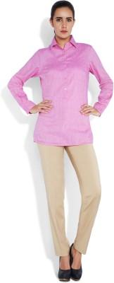 Park Avenue Women,s Solid Formal Pink Shirt