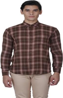Baba Rancho Men's Checkered Casual Brown Shirt