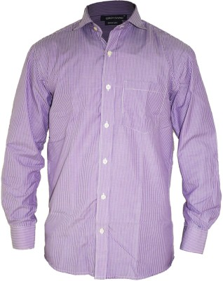 Groviano Men's Striped Formal Purple Shirt