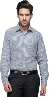 Copperline Men's Checkered Casual White, Grey Shirt