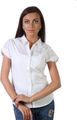 Hugo Chavez Women's Solid Formal White Shirt