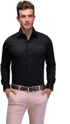 Edjoe Men's Solid Casual Black Shirt